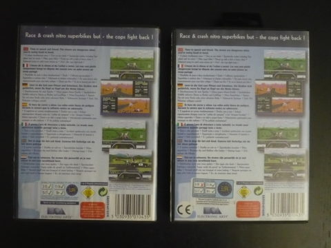 Comparaison de l'arrière des jaquettes des deux versions de Road Rash II sur Megadrive, version EA Classic.
