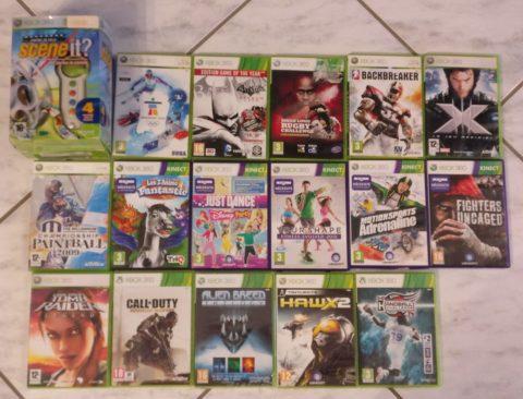 Photo du premier lot de jeux Xbox 360 reçu en janvier 2020.