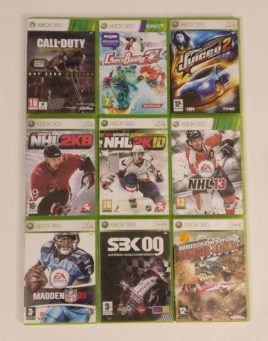 Lot de neuf jeux Xbox 360