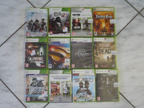12 jeux Xbox 360 achetés en magasin.